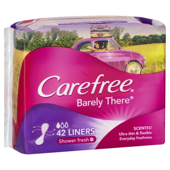 Carefree Barely There Breathable Ultra Thin Liners Shower Fresh 42 Pack