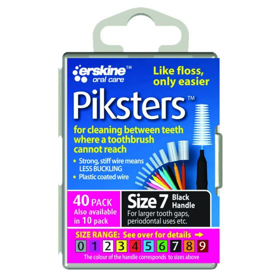 Piksters Tooth Cleaner Size 7 (Black) - 40 Pack