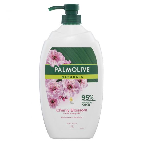 Palmolive Naturals Milk & Cherry Blossom Body Wash with Moisturising Milk 0% Parabens Recyclable 1L