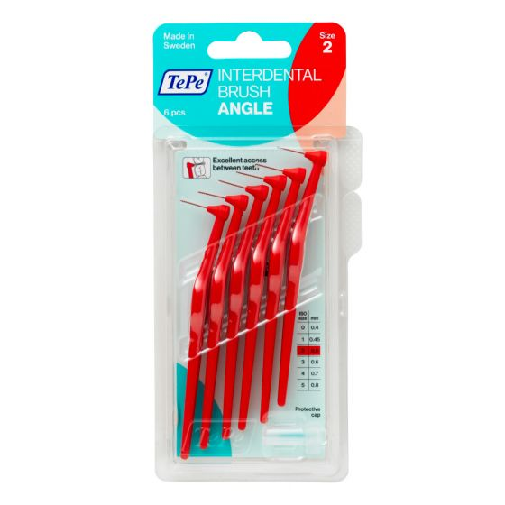 Tepe Interdental Angle Brush 0.5mm Size 2 (Red) 6 Pack