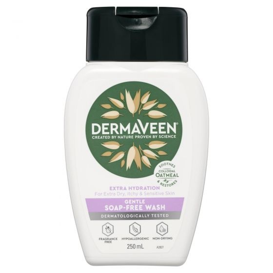 DermaVeen Extra Hydration Gentle Soap-Free Wash for Extra Dry, Itchy & Sensitive Skin 250mL