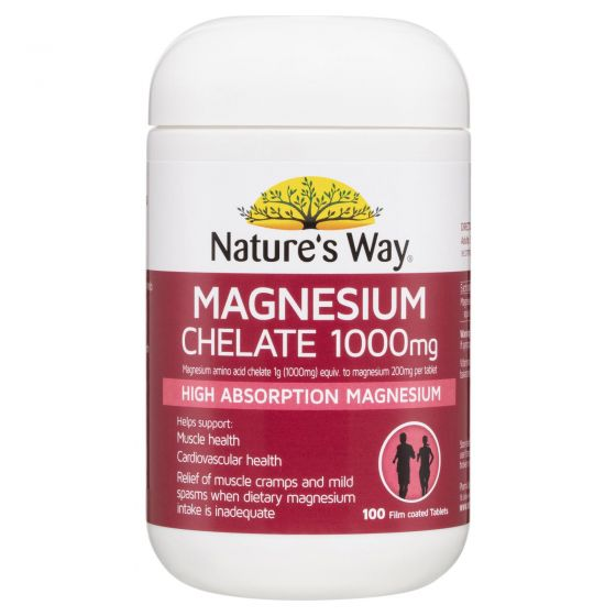 Nature's Way Magnesium Chelate 1000mg 100 Tablets