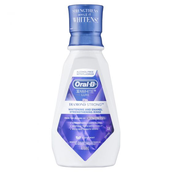 Oral-B 3D White Luxe Diamond Strong Clean Mint Mouthwash 473mL