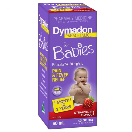 Dymadon Pain & Fever For Babies 1 Month - 2 Years Strawberry 60ml