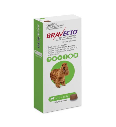 Bravecto For Medium Dogs 10 - 20kgs (1 Single Chew)