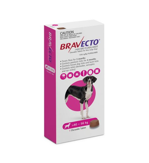Bravecto For Extra Large Dogs 40 - 56kgs (1 Single Chew)