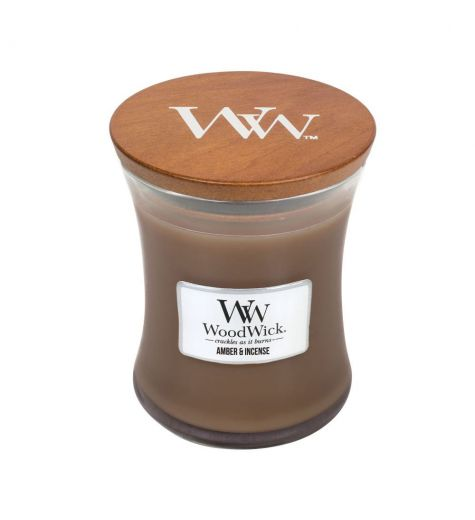 Woodwick Medium Amber & Incense Scented Candle