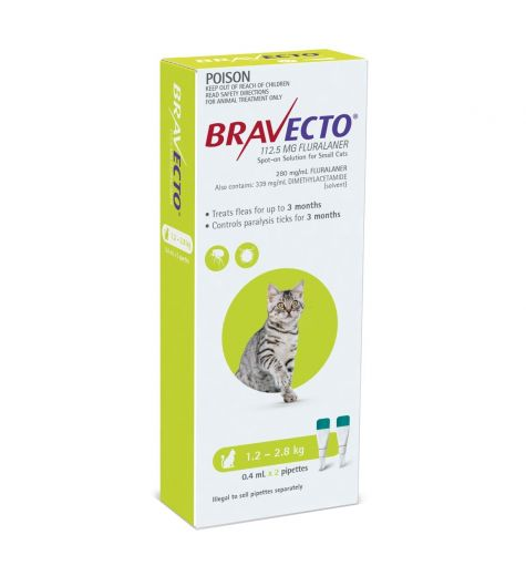 Bravecto For Cats 1.2kg - 2.8kg 2 Pipettes
