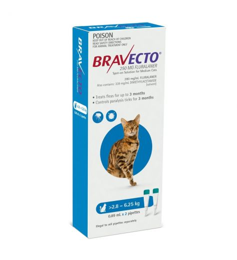 Bravecto For Cats 2.8kg - 6.25kg 2 Pipettes