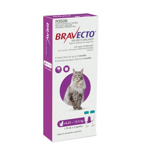 Bravecto For Cats 6.25kg - 12.5kg 2 Pipettes