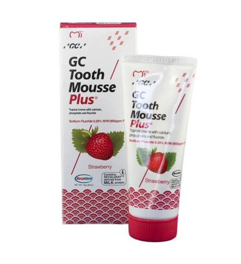 GC Tooth Mousse + Fluoride with Recaldent Strawberry Flavour 40g