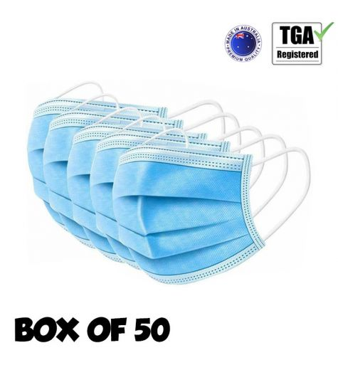 Disposable Face Masks 3 Ply Australian Made Box Of 50