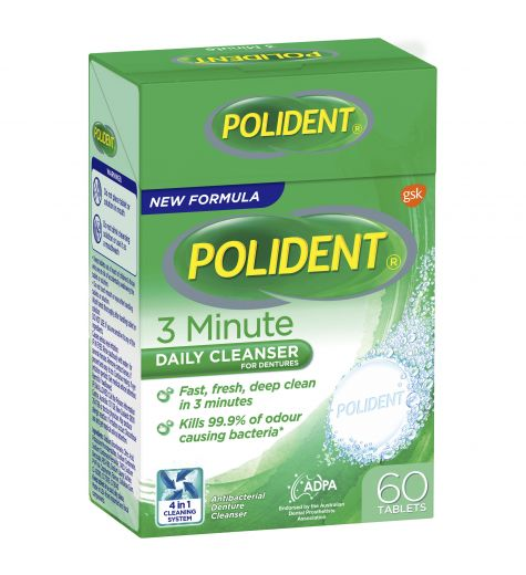 Polident 3 Minute Daily Cleanser For Dentures 60 Tablets