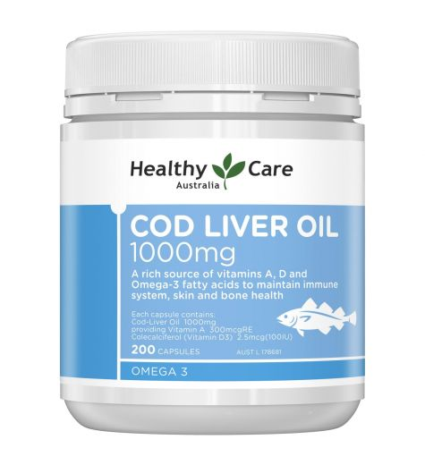 Healthy Care Cod Liver Oil 1000mg Capsules 200