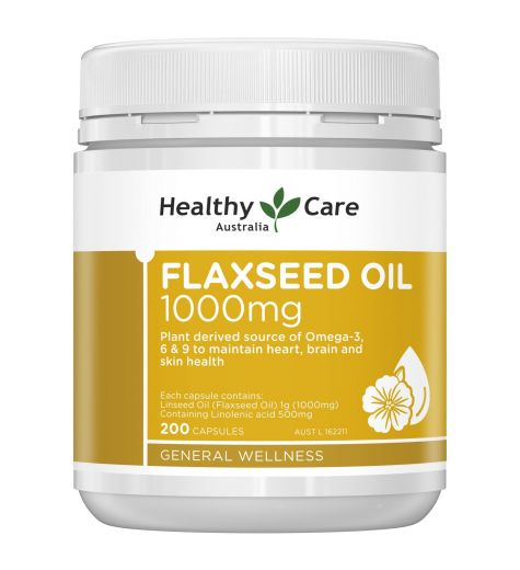 Healthy Care Flaxseed Oil 1000mg Capsules 200
