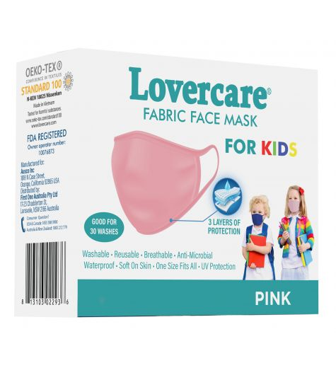 Face Mask Fabric 3 Ply Kids Pink 5 Pack