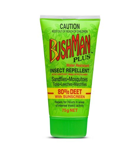 Bushman Water Resistant Insect Repellent 80% Deet with Sunscreen 75g