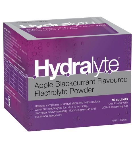 Hydralyte Apple Blackcurrant Flavoured Electrolyte Powder 10 Sachets