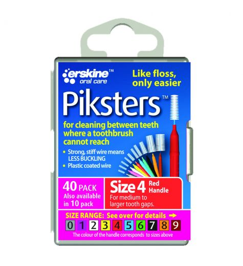 Piksters Tooth Cleaner Size 4 (Red) - 40 Pack