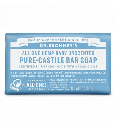Dr. Bronner's Pure-Castille Baby Unscented Bar Soap 140g