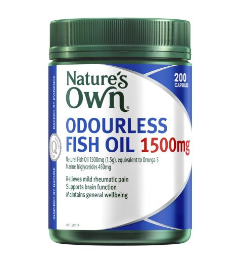 Natures Own Fish Oil 1500mg Capsules 200 Odourless