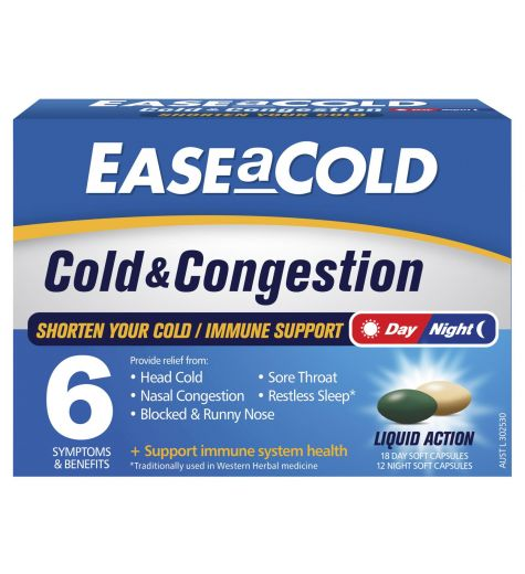Ease A Cold Day & Night Cold & Congestion 30 Liquid Capsules