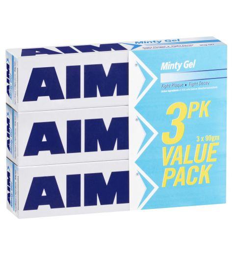 Aim Minty Gel Toothpaste 90g 3 Pack
