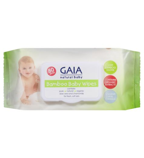 GAIA Bamboo Baby Wipes 80 Pack