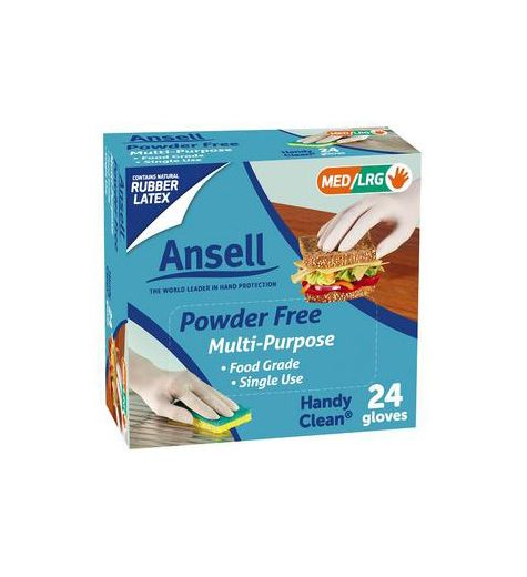Ansell Handy Disposable Rubber Latex Glove 24 Pack