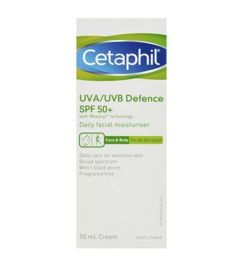 Cetaphil UVA/UVB Defence SPF 50+ Daily Facial Moisturiser 50ml