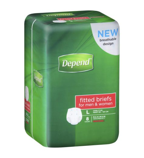 Depend Briefs Suitable For Men & Women 8 Large