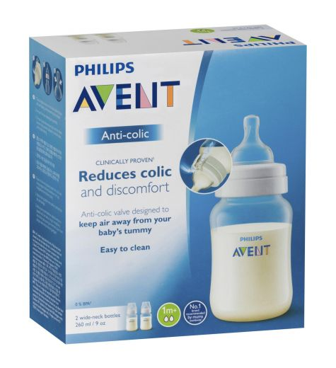 Philips Avent Anti-Colic Feeding Bottles 260ml 1m+ Clear Twin Pack