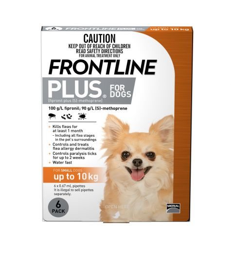 Frontline Plus For Small Dogs (up to 10kg) 6 Pack