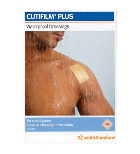Cutifilm Plus Tan Waterproof Dressing 10cm x 8cm 5 Pack