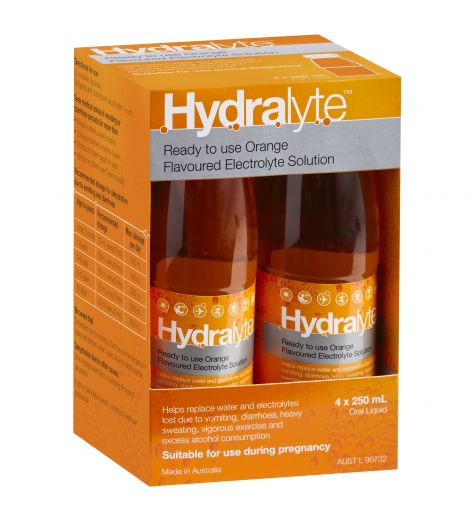 Hydralyte Ready To Use Orange Flavoured Electrolyte Solution 4 x 250ml