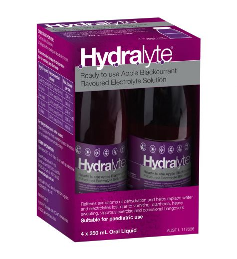 Hydralyte Ready To Use Apple Blackcurrant Electrolyte Solution 4x250ml