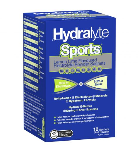 Hydralyte Sports Rehydration And Electrolyte Lemon Lime Powder 12 Pack