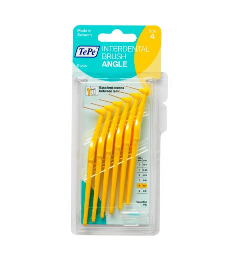 Tepe Interdental Angle Brush 0.7mm (Yellow) 6 Pack