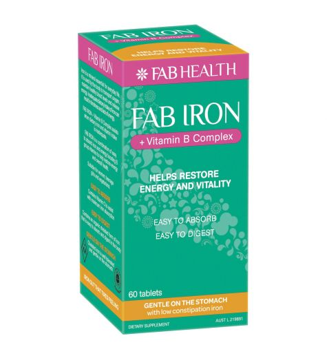 Fab Health  Fab Iron + Vitamin B Complex 60 Tablets
