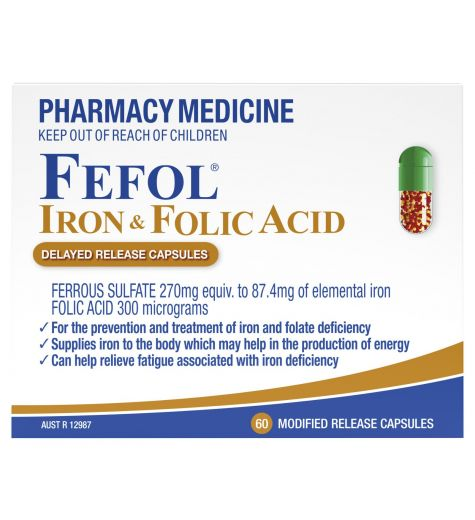 Fefol Iron & Folate Supplement 60 Delayed Release Capsules