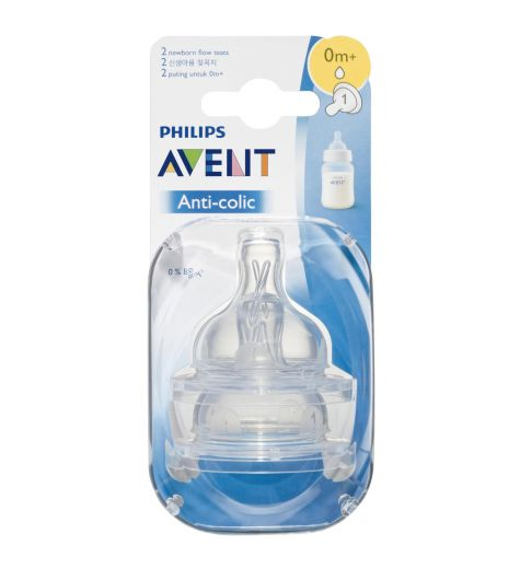 Philips Avent Anti-Colic 0m+ Newborn Flow Teats Twin Pack