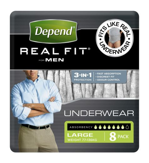 Depend Real Fit For Men Underwear Large 8 Pack