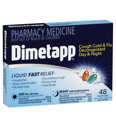 Dimetapp PE Day + Night Cough Cold + Flu 48 Liquid Caps