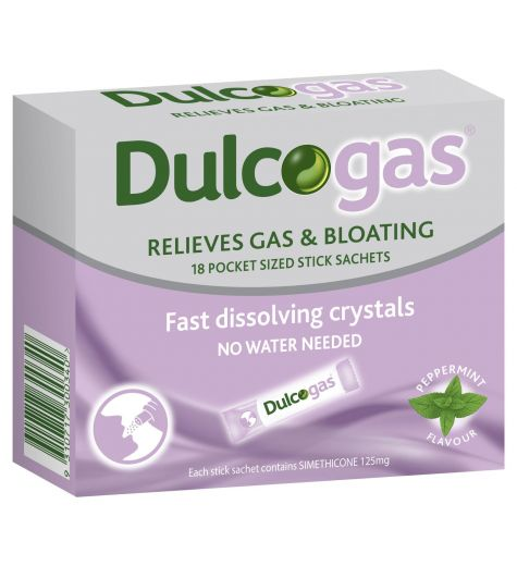 Dulcogas Relieves Gas & Bloating 18 Pocket Sized Sachets