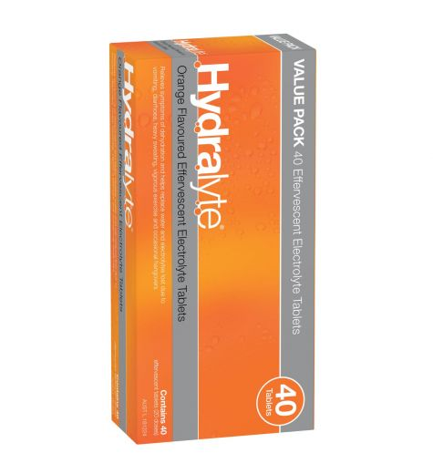 Hydralyte Orange Effervescent Electrolyte (2x20) Twin Pack 40 Tablets