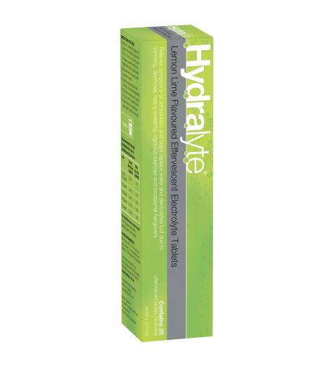 Hydralyte Lemon Lime Effervescent Electrolyte 20 Tablets