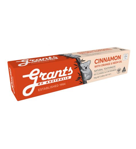Grants Of Australia Natural Orange Cinnamon Toothpaste With Neem Oil 110g