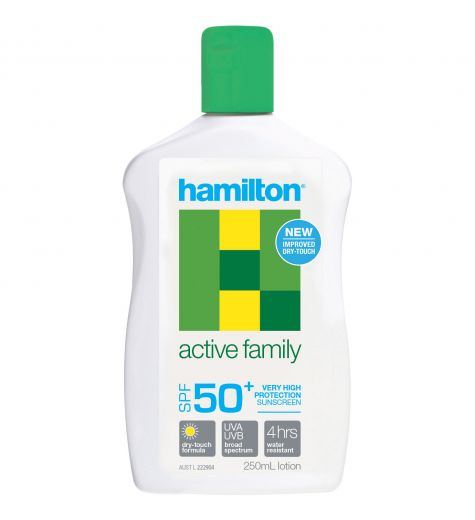Hamilton Active Family Sunscreen 50+ 250ml Lotion