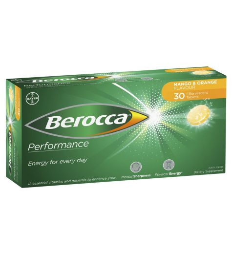 Berocca Performance Effervescent Orange & Mango Tablets 30