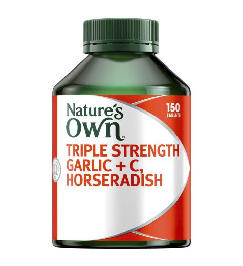 Natures Own Triple Strength Garlic + C + Horseradish Tablets 150